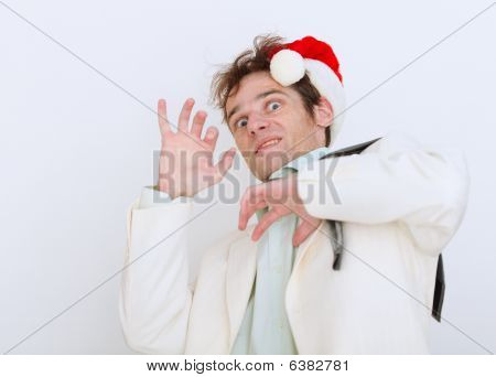 Frightened By Approach Of New Year Person On White Background