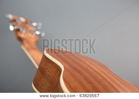 Close-up shot of classic ukulele guitar, back view, selective focus
