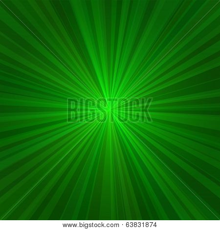 Light Green Rays Abstract Background. Vector