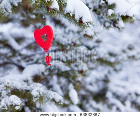 Red Heart Decor Ornament Outdoor Winter Forest