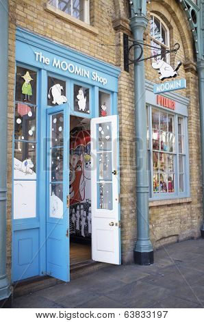 LONDON, UK - APRIL 16, 2014: Shop dedicated to Moomin products. The Moomins are the central characters in a series of books and a comic strip by Swedish-Finn illustrator and writer Tove Jansson.