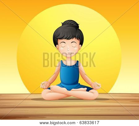 Illustration of a girl concentrating while doing yoga