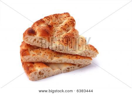 Three slices pita bread isolated on white