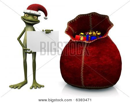Cartoon Frog Wearing Santa Hat And Holding Blank Sign.