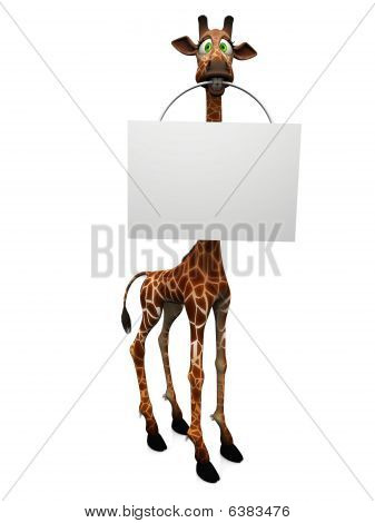 Cartoon Giraffe leere Schild.