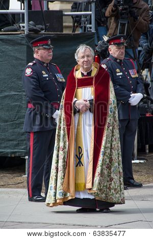 Douglas Stoute Dean of St. James Cathedral at Jim Flaherty State Funeral in Toronto