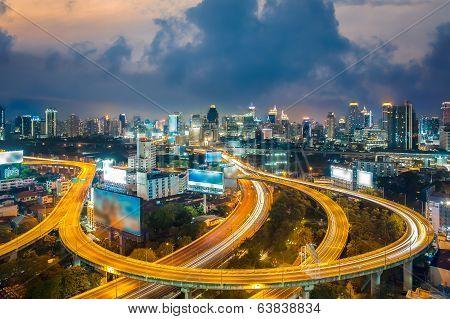 Bangkok Cityscape At Twilight, Bangkok Expressway (thailand)