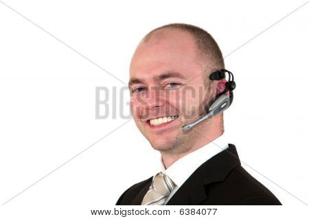 smiling male call center agent