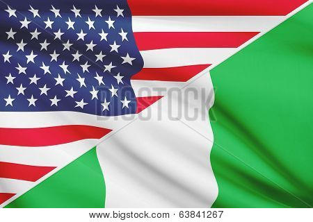 Series Of Ruffled Flags. Usa And Federal Republic Of Nigeria.