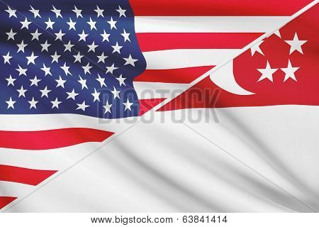 Series Of Ruffled Flags. Usa And Republic Of Singapore.