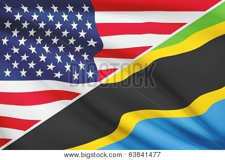 Series Of Ruffled Flags. Usa And United Republic Of Tanzania.