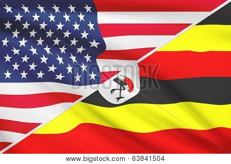 Series Of Ruffled Flags. Usa And Republic Of Uganda.