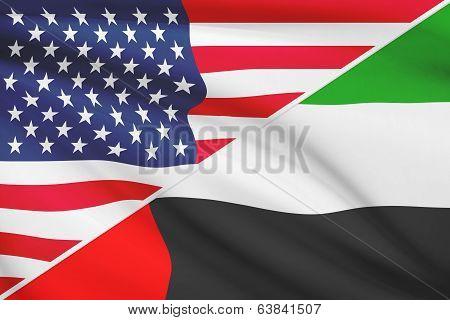 Series Of Ruffled Flags. Usa And United Arab Emirates.