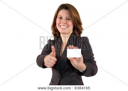 beautiful business woman showing a card posing with thumbs up sign