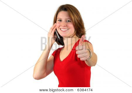 beautiful woman with cell phone posing with thumbs up sign