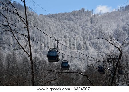 Skiing Cabins In The Mountains