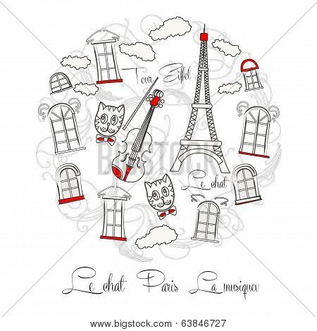 White Background with music and Tour Eiffel