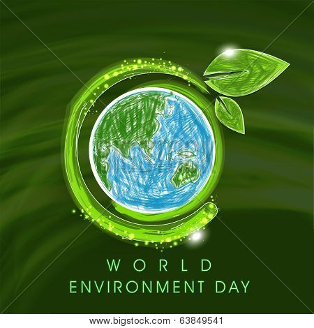 World Environment Day concept with mother earth globe and shiny leaves on green background.