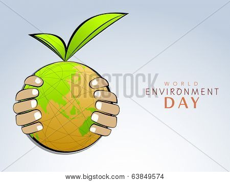 World Environment Day concept with mother earth globe protecting by human hands on grey background.
