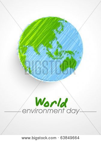 World Environment Day sticker, tag or label design with mother earth globe on grey background.