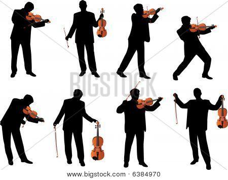 violin player vector silhouette