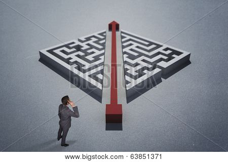 Thinking businessman scratching head against red arrow cutting through puzzle