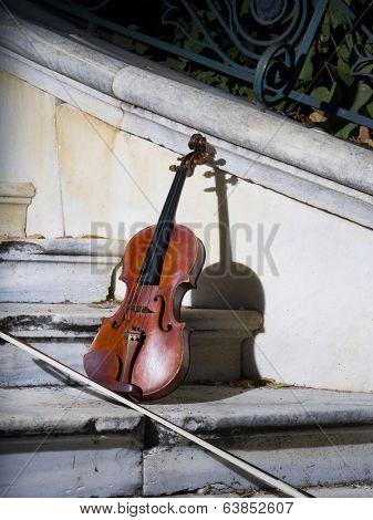 An old violin on autumn barok