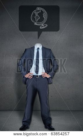 Composite image of headless businessman globe in speech bubble in grey room