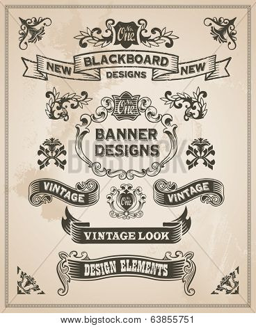 Vintage retro hand drawn banner set - vector illustration with texture added