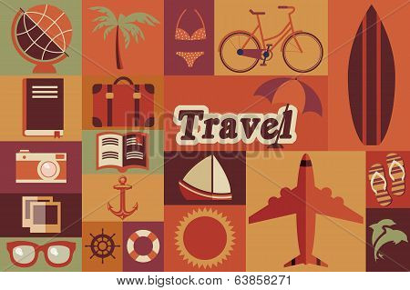 Collection of flat vintage retro travel icons, flat design, vector illustration