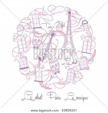 Background with pink music and Tour Eiffel