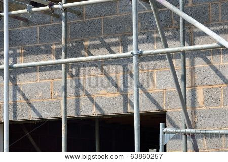 Close up of house under construction