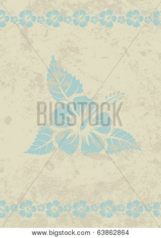 Vector grungy beige aloha background with hibiscus flower