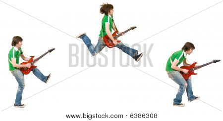 Three Poses Of A Jumping Guitarist