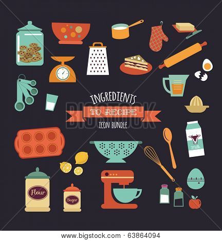 Chalkboard meal recipe template vector design with food icons and elements