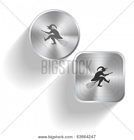 Witch. Vector set steel buttons
