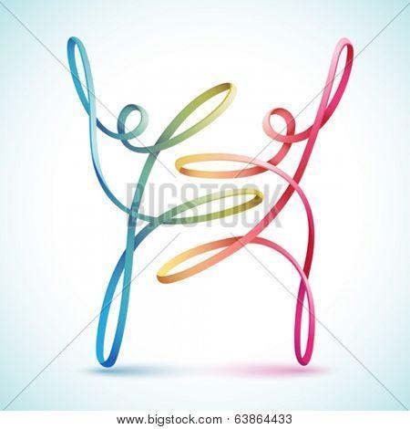 Dancing string figures vector