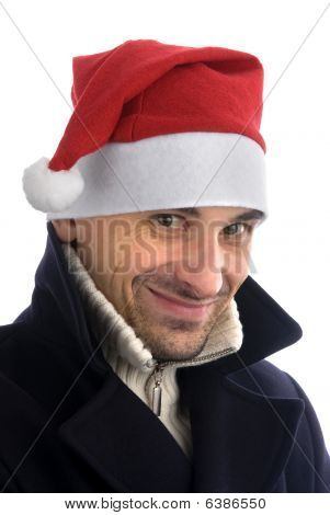 Happy Young Man In Santa Hat