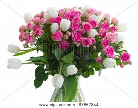 bunch of  fresh pink roses and white tulips