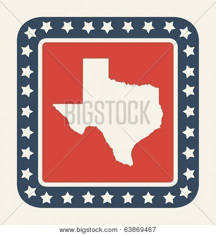 Texas state button on American flag in flat web design style, isolated on white background.