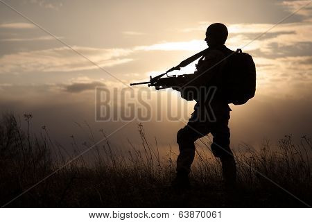 Silhouette of US marine