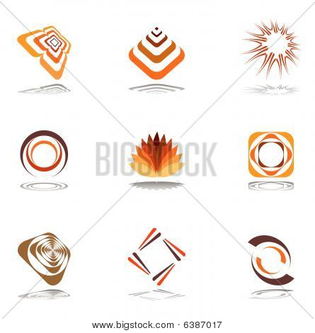 Design elements in warm colors. Set 1.