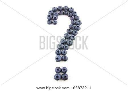 Question Mark Made Of Fresh Blueberries