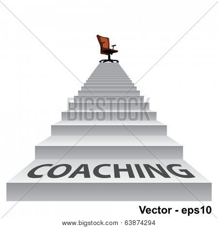 Vector concept conceptual 3d coaching stair climbing to a leader,chief or promotion chair on top isolated white background