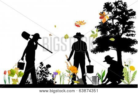 Gardener. All elements and textures are individual objects. Vector illustration scale to any size.