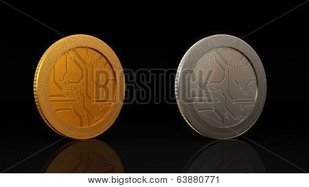 Digital Currency Coins Dark Merge 45 Degree