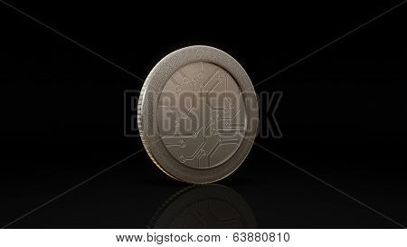 Digital Currency Silver Coin Dark 45 Degree