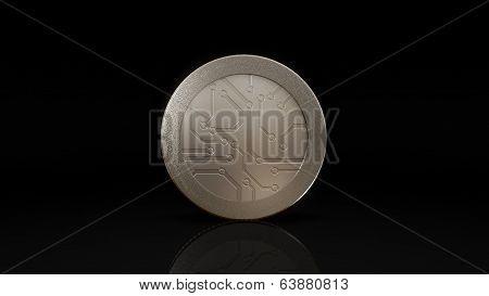 Digital Currency Silver Coin Dark