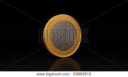 Digital Currency Silver Gold Coin Dark 45 Degree