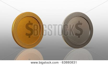 Dollar Currency 2 Coins 45 Degree